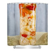 Pickled Vegetables In Clear Glass Jar Shower Curtain