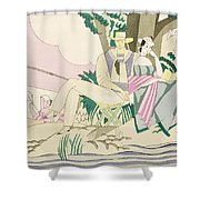 Picnic And Fishing Scene Shower Curtain
