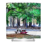 Picnic Area With Wooden Tables 3 Shower Curtain