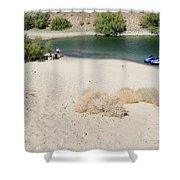 Picnic On Lake Mohave Shower Curtain