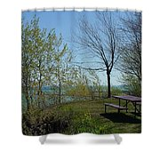 Picnic Table By The Lake Photo Shower Curtain