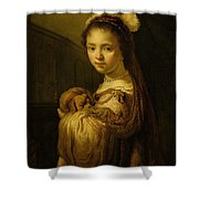 Picture Of A Young Girl Shower Curtain by Govaert Flinck