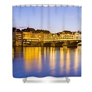 Picturesque Basel At Night Shower Curtain