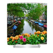Picturesque View Amsterdam Holland Canal Flowers Shower Curtain