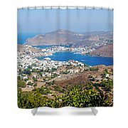 Picturesque View Of Skala Greece On Patmos Island Shower Curtain