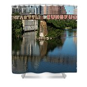 Picturesque View Of The Railroad Graffiti Bridge Over Lady Bird Lake As Canoes And Kayakers Paddle Under The Bridge On A Beautiful Summers Day Shower Curtain