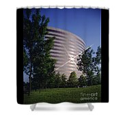 Corporate Woods Pie Building Shower Curtain