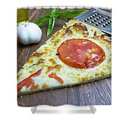 Piece Of Margarita Pizza With Fresh Ingredients Shower Curtain