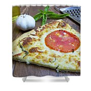 Piece Of Margarita Pizza With Ingredients Shower Curtain