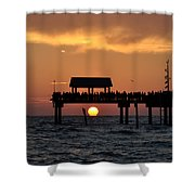 Pier 60 Clearwater Beach - Watching The Sunset Shower Curtain