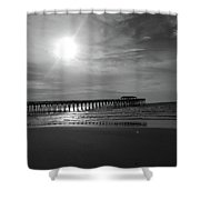 Pier At Myrtle Beach In Black And White Shower Curtain