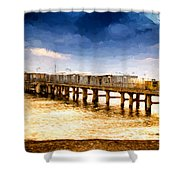 Pier At Sunset Oil Painting Photograph Shower Curtain