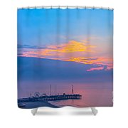 Pier Before Sunrise Shower Curtain