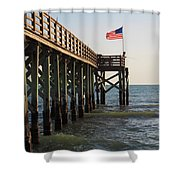 Pier, Flag, Fishing Shower Curtain