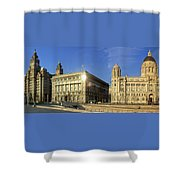 Pier Head Liverpool Panorama 2 Shower Curtain