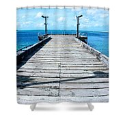 Pier Into The Blue Shower Curtain