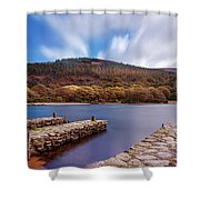 Pier On The Upper Lake In Glendalough - Wicklow, Ireland Shower Curtain