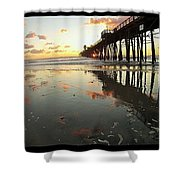 Pier Reflections - Sunset Shower Curtain
