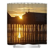 Pier Sunrise Shower Curtain