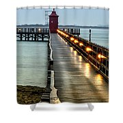 Pier With Lighthouse Shower Curtain
