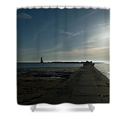 Pier With Sun Shower Curtain