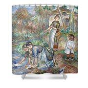 Pierre-auguste Renoir - Washerwomen 1888 Shower Curtain