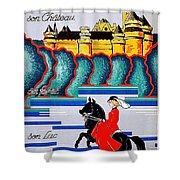 Pierrefonds Castle, Woman On Horse, France Shower Curtain