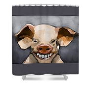 Pig Human Morphed Shower Curtain