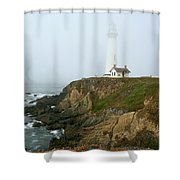 Pigeon Point Light In A Mist Shower Curtain