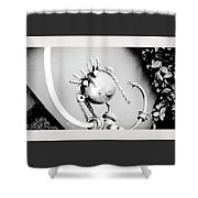 Pigtails Girl Metal Monochrome  Shower Curtain
