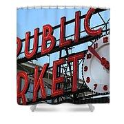 Pike Street Market Clock Shower Curtain