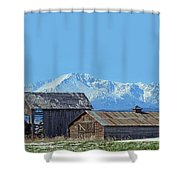 Pikes Peak And Old Barn Spring Snow Shower Curtain