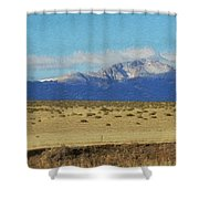 Pikes Peak Painterly Shower Curtain