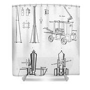 Pile Driver, Fire Engine, Steam Engine Shower Curtain