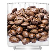 Pile Of Coffee Beans Isolated On White Shower Curtain