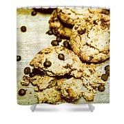 Pile Of Crumbled Chocolate Chip Cookies On Table Shower Curtain
