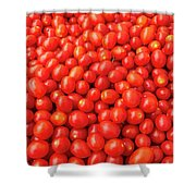 Pile Of Small Tomatos For Sale In Market Shower Curtain