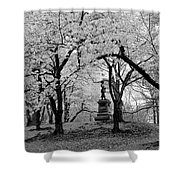 Pilgrim Fathers Statue Bw Shower Curtain