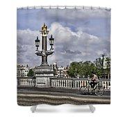 Pillar On The Blue Bridge Shower Curtain