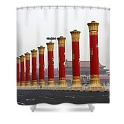 Pillars At Tiananmen Square Shower Curtain by Carol Groenen