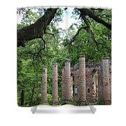 Pillars Of Sheldon Church Ruins Shower Curtain