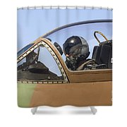 Pilot In The Cockpit Of A Skyhawk Fighter Jet  Shower Curtain