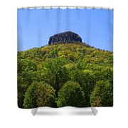 Pilot Mountain In Spring Green Shower Curtain