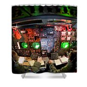 Pilots At The Controls Of A B-52 Shower Curtain by Stocktrek Images