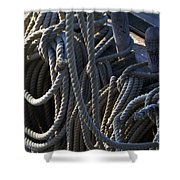 Pin Rail And Rope Shower Curtain