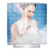 Pin Up Cleaning Lady Washing Glass Shower Door Shower Curtain