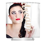 Pin Up Girl Daydreaming  Shower Curtain