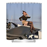 Pin-up Girl Sitting On The Wing Shower Curtain by Christian Kieffer