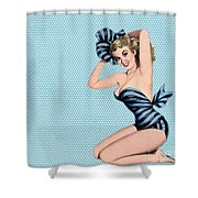 Pin Up Girl Square 2 Shower Curtain