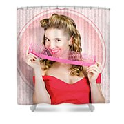 Pin Up Hairdresser Woman With Hair Salon Brush Shower Curtain